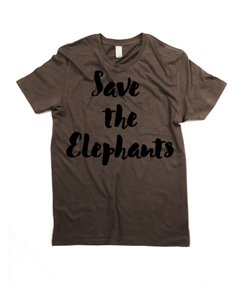 Elephants T-shirt  Organic Cotton Mens Save the elephants image 0