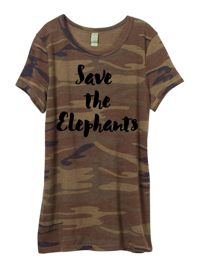 Woman Camo Shirt Save the Elephants T-shirt elephants eco image 0