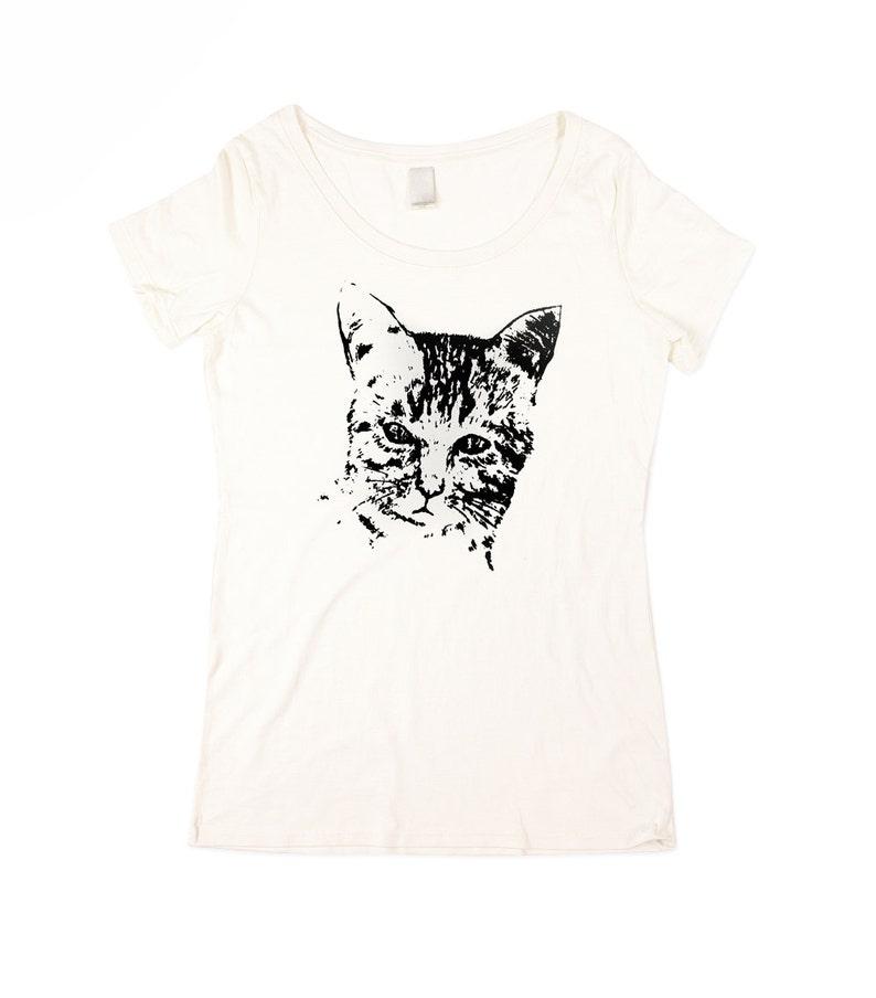 Cat Shirt  Womens Wild Cat T-shirt  Natural White Cat Shirt image 0