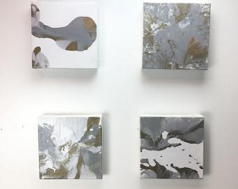 """Metallic Polyptych Fluid Painting - 4 piece Painting Acrylic Painting - Abstract Painting - 4 Paintings - 8"""" x 8""""x1"""" - Art - Wall Ar"""