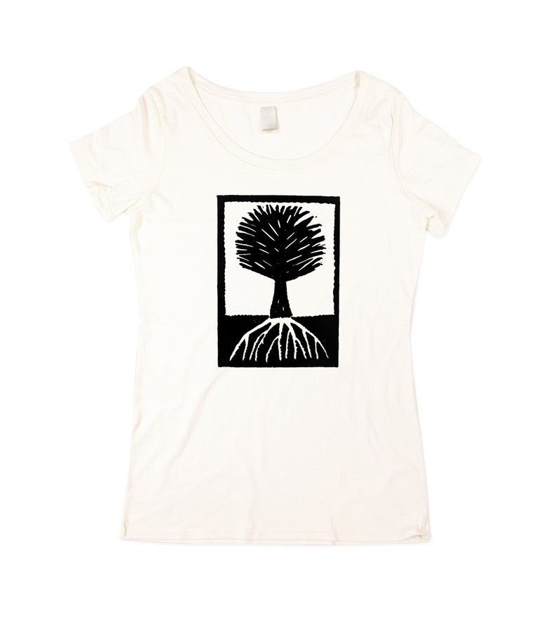 Womens Tree T-shirt   BAMBOO   Natural White Wood Cut Tree image 0