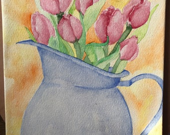 Tulips in Water Pitcher Wall Art- Original on Canvas Board