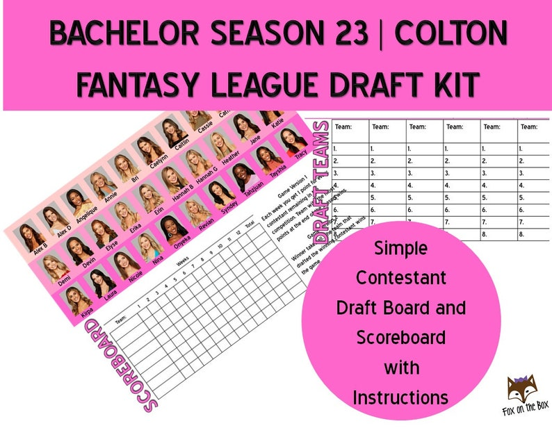 graphic regarding Bachelor Bracket Printable titled Bachelor Colton Period 23 Myth League Draft Package Printable Parody Match Electronic Down load
