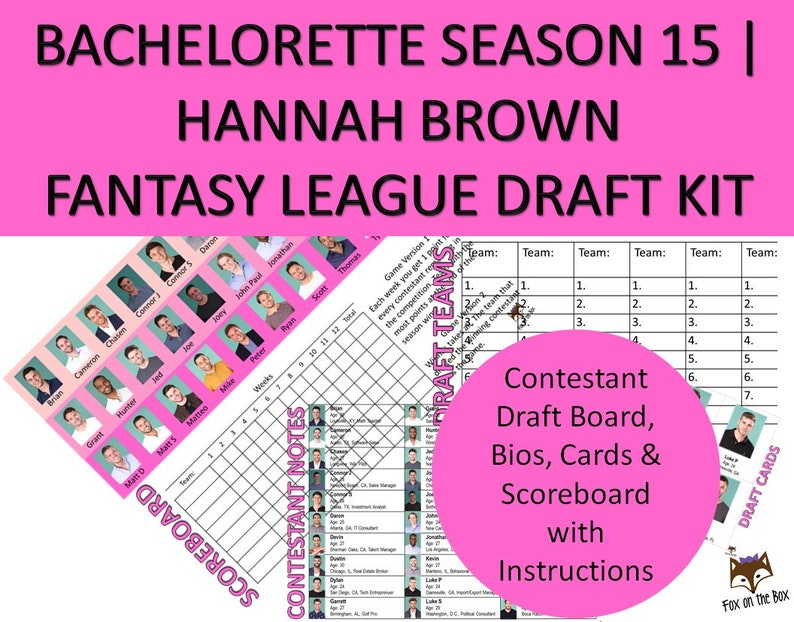 graphic about Printable Draft Board called Bachelorette Hannah Period 15 Myth League Draft Package Printable  Scoreboard, Playing cards, Bios, Employees Parody Match Electronic Down load