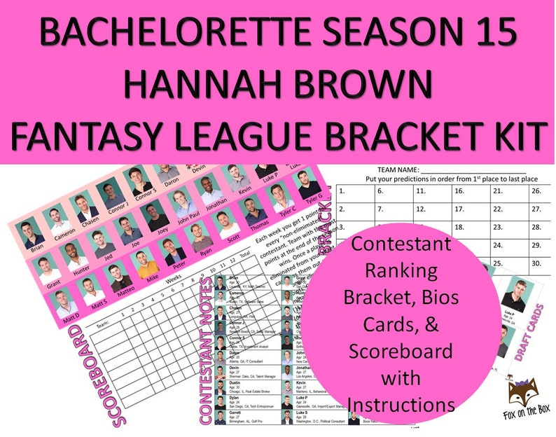 photo relating to Printable Bachelor Bracket named Bachelorette Hannah B Period 15 Myth League Bracket Package Printable  Scoreboard, Playing cards, Bios, Ratings Parody Activity Electronic Down load
