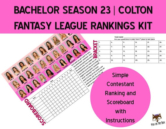 photo about Printable Bachelor Bracket called Bachelor Colton Time 23 Myth League Participant Scores Printable  Parody Video game Electronic Obtain