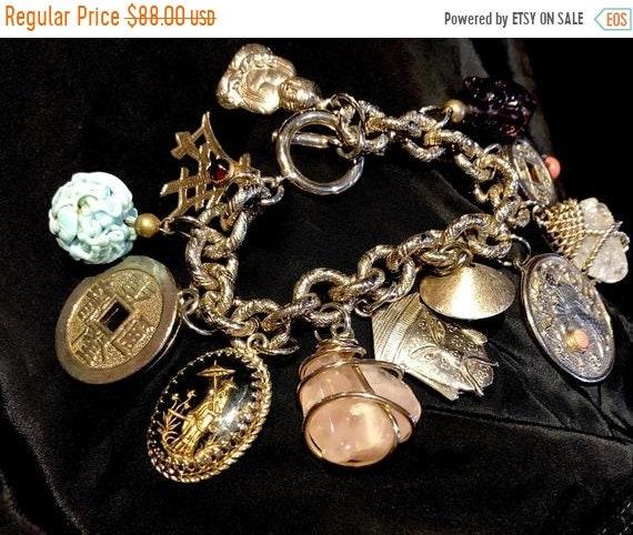 SALE 1950s Mid Century Chinoiserie Charm Bracelet