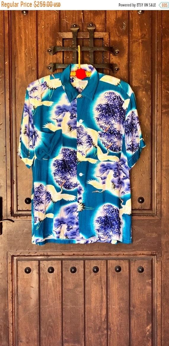 SALE 1950s Penneys Hawaiian rayon Cranes Shirt M