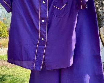 1940/50s Miss Siren Purple Cold Rayon Pajama Set M