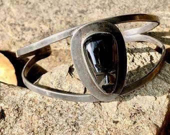 1950s Silver Mexican Tribal Tiki Mask Cuff