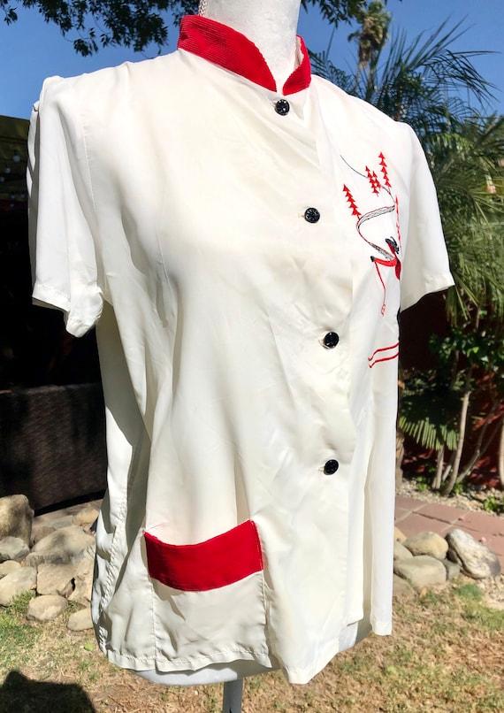 SALE 1940s Perfect Snow White Rayon Blouse M - image 4