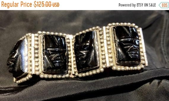 SALE 1950s Tiki Tribal Sterling Silver Mexican Ony