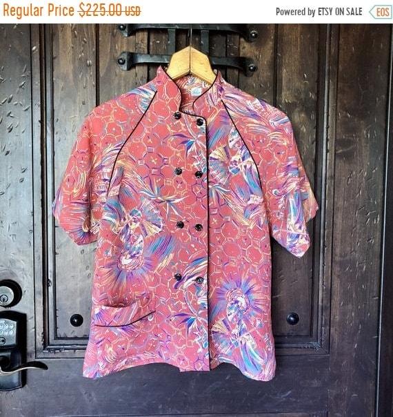 SALE 1940s Rare Cold Rayon Asian Print Pajama top