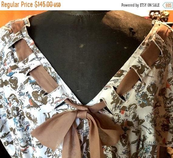 SALE 1950s Rayon Asian print Sailor Dress L XL