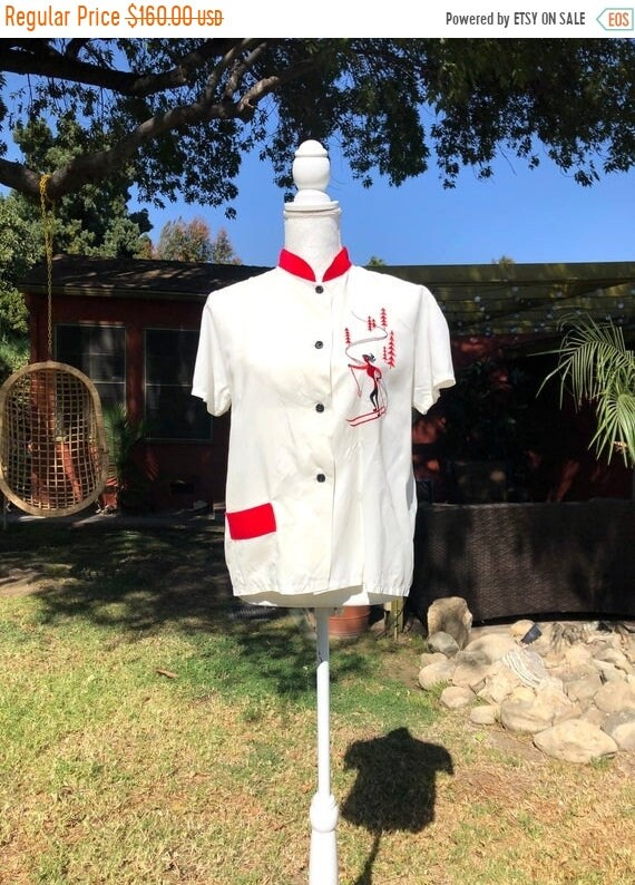 SALE 1940s Perfect Snow White Rayon Blouse M