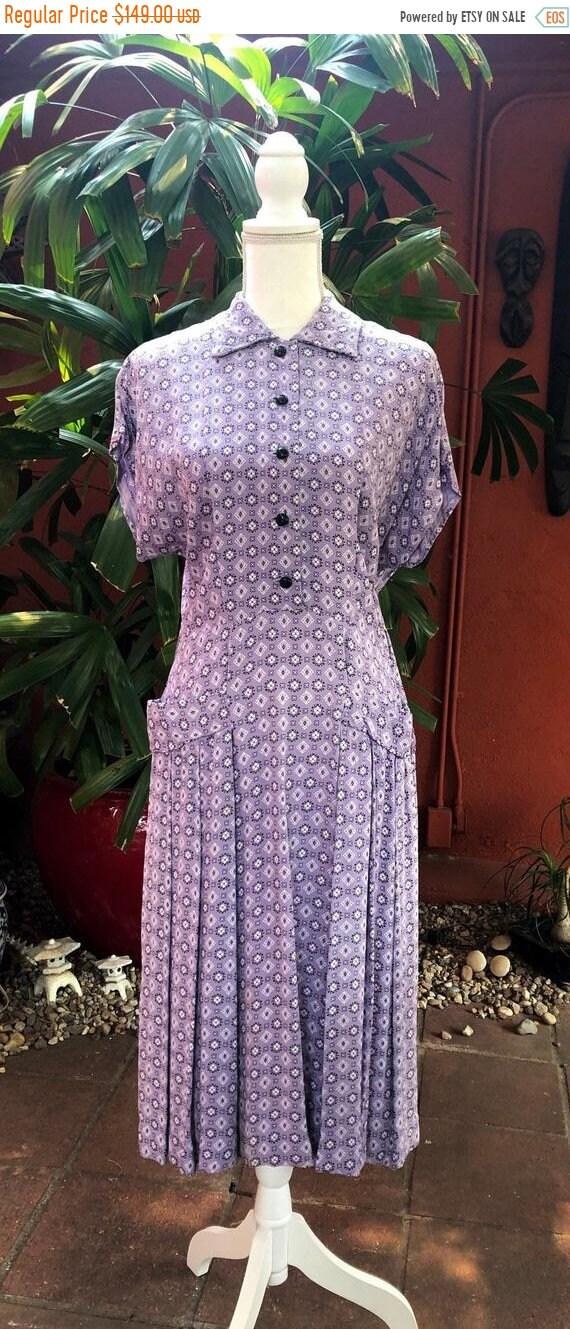 SALE 1950s Bandana Print Rayon Crepe Lavender Dres