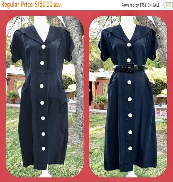 SALE 1950s Black Rayon Victory Dress XL