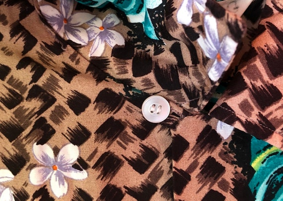 1950s Penneys Hawaiian Rayon Tiki Shirt M/L - image 5
