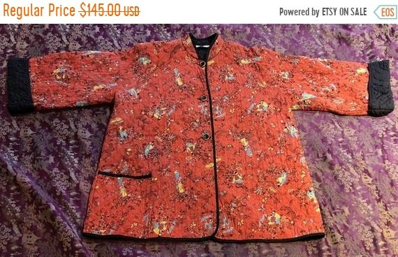 SALE 1940s Chinoiserie Print Rayon Quilted Jacket