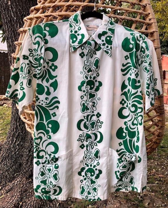 SALE 1940s Rare Kamehameha Hawaiian Cabana Shirt M