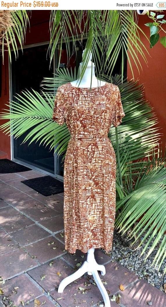 SALE 1950s Rayon Bamboo Print Tiki Dress L
