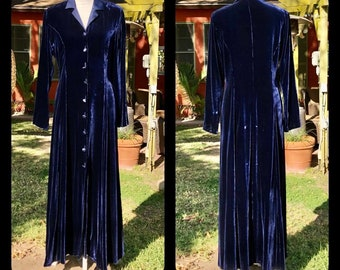 Vintage Laura Ashley Blue Rayon Silk Velvet Riding Coat Dress M