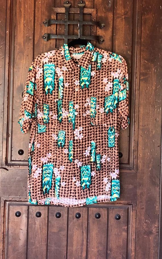 1950s Penneys Hawaiian Rayon Tiki Shirt M/L - image 2