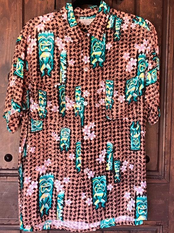 1950s Penneys Hawaiian Rayon Tiki Shirt M/L - image 1