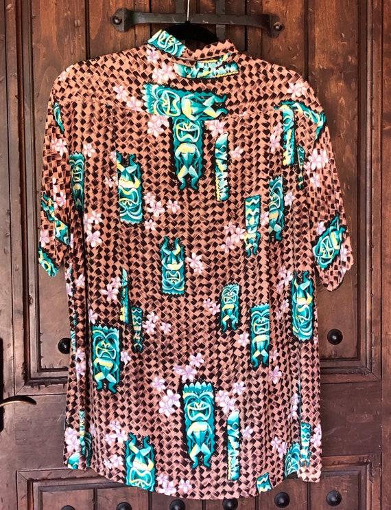 1950s Penneys Hawaiian Rayon Tiki Shirt M/L - image 3