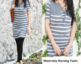 db9a5bc471ecf NIKKI Maternity Clothes / Nursing Top / Breastfeeding Tunic Shirt/ NEW Maternity  Clothing / Grey Stripes/ Pregnancy Nursing tops Dress