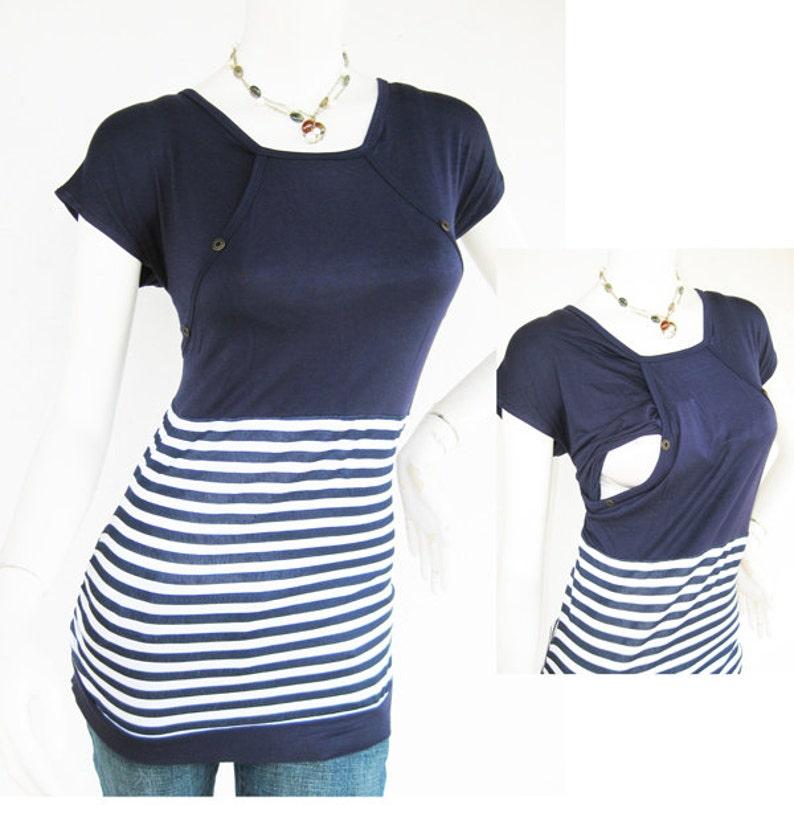 130abc207e14f MIKA Maternity Clothes Nursing Tops Breastfeeding Top Navy | Etsy