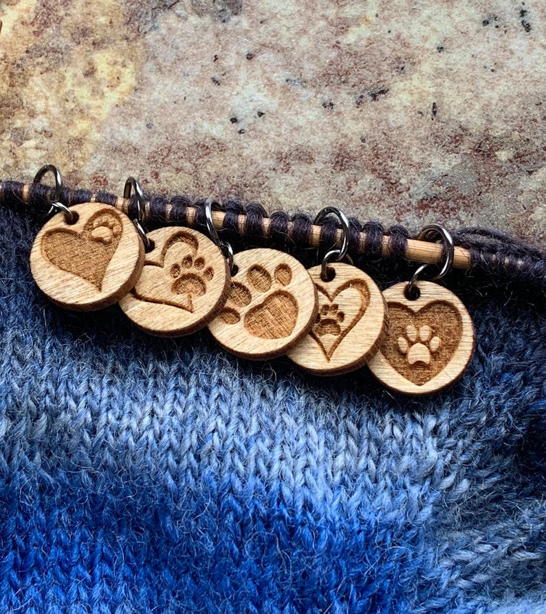 Paws of Love wood stitch markers for crocheting or knitting