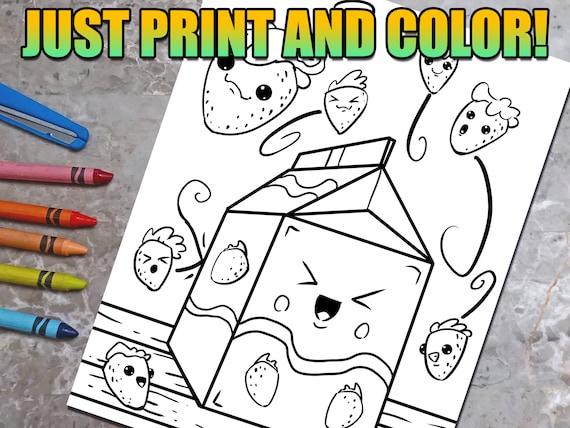 Cute Kawaii Strawberry Milk Coloring Book Page Download Fun