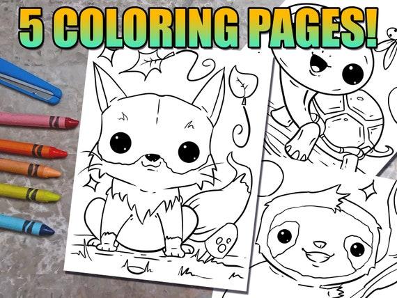 Cute Kawaii Animals Coloring Book Pages Download Fun Coloring