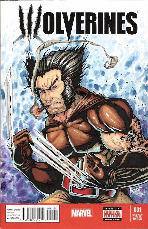 Wolverine Comic Book Sketch Cover Original By Hutch Marvel X Men Universe Logan