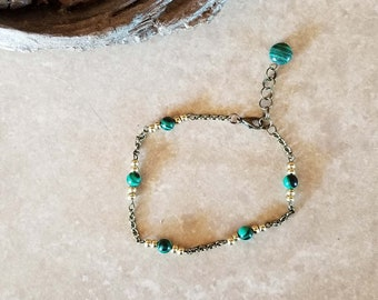 "Warm Summer Malachite Bead Bronze Chain Anklet - 9"" Length Adjustable to 10"" - One-of-a-kind - Handmade"