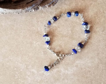 "Versatile Lapis and Quartz Beaded Anklet - 9"" Length Adjustable to 10"" - Hand-made - One-of-a-kind"