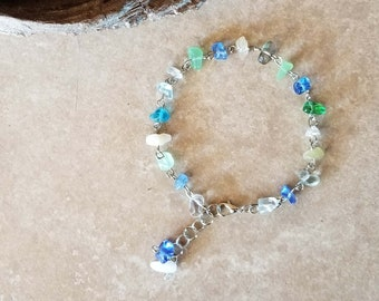 "Subtle Multi-color Glass Stone and Chain Anklet - 9"" Length Adjustable to 10"" - One-of-a-kind - Handmade"
