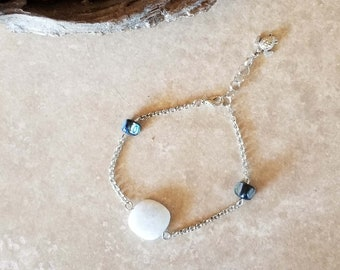 "Genuine Amazonite and Shell Chain Anklet - 9"" Length Adjustable to 10"" - One-of-a-kind - Handmade"
