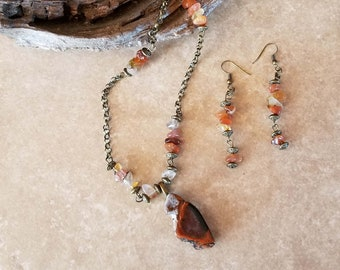 Jasper Pendant Carnelian Embellished Necklace and Earring Set