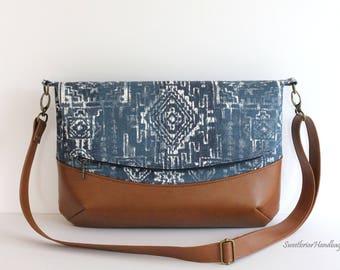509a9bc1b9 Crossbody Canvas Foldover Bag Zippered Fold Over Purse Navy Southwestern Bag Zippered  Foldover Bag Gift for Women Navajo Purse