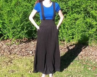 Knit Maxi Skirt with Suspenders and Pockets (Custom Color and Size)