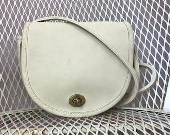 RARE Vintage Coach  Ivory Bone Small Shoulder Crossbody Bag Made In New York City USA Bonnie Cashin