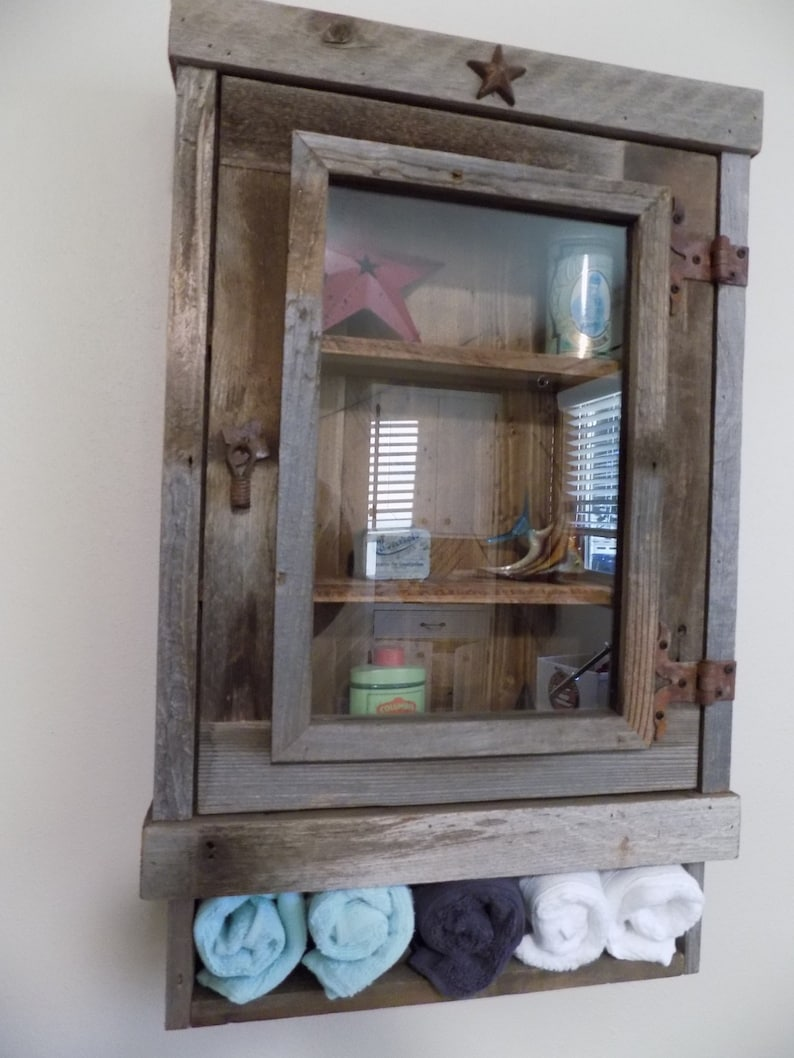 Rustic Reclaimed Medicine Cabinet Choice Of Mirror Mesh Or Etsy