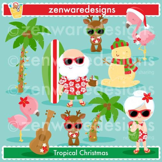 Tropical Christmas.Tropical Christmas Clipart