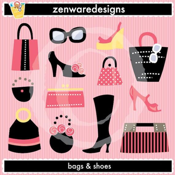 Bags And Shoes Clipart Etsy