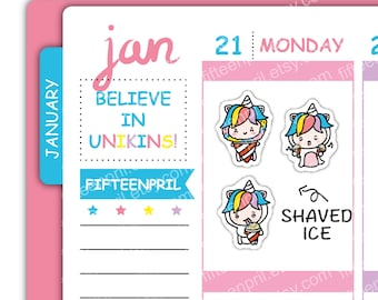 U064- Shaved Ice Unikin stickers
