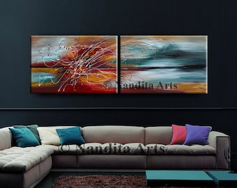 Large Wall Art ABSTRACT PAINTING Acrylic Wall Decor Red Landscape Abstract Canvas Painting Contemporary Art Home Decor Wall Hanging