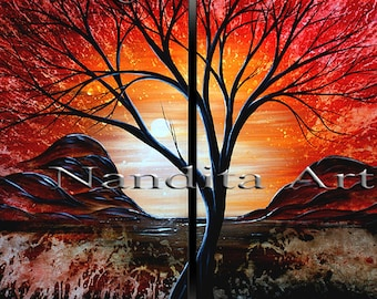 Colorful Sunset Landscape Painting, Abstract Red Original Painting, Tree Art Painting, Modern Tree Painting, Home Decor by Nandita