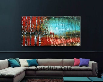 """Abstract Painting, Landscape Painting Modern Large Wall Art Decor Hand Made Red 48"""" Thick Texture Bird Artwork Fast Shipping by Nandita"""